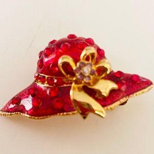 Red Glazed Enamel Rhinestone Brooch